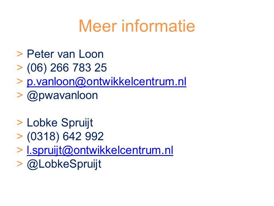 Meer informatie Peter van Loon (06) 266 783 25