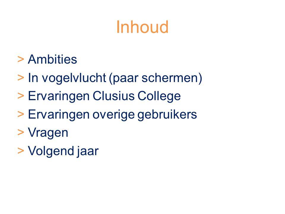 Inhoud Ambities In vogelvlucht (paar schermen)