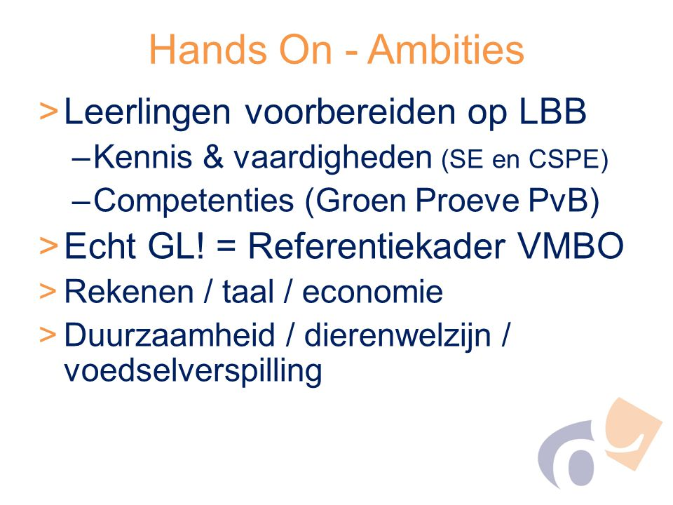 Hands On - Ambities Leerlingen voorbereiden op LBB