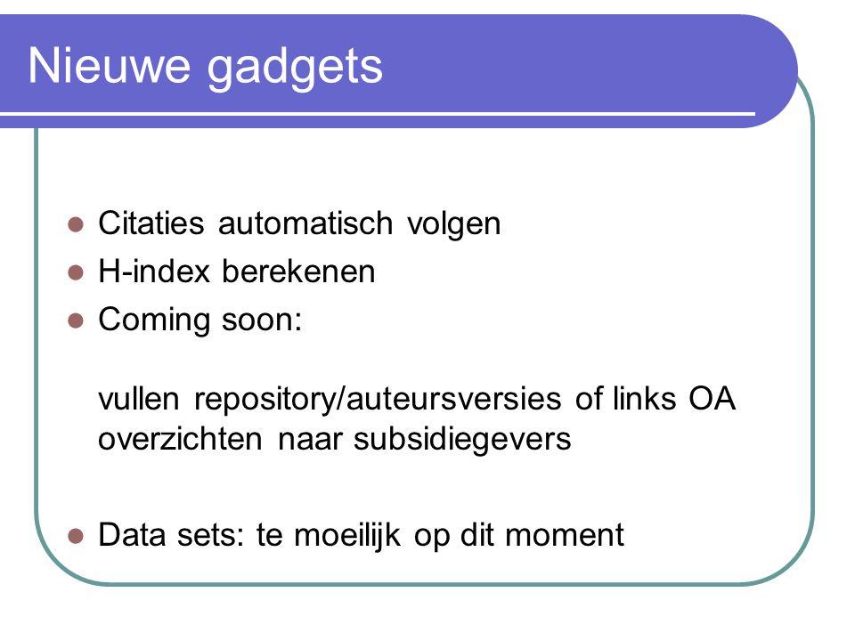 Nieuwe gadgets Citaties automatisch volgen H-index berekenen