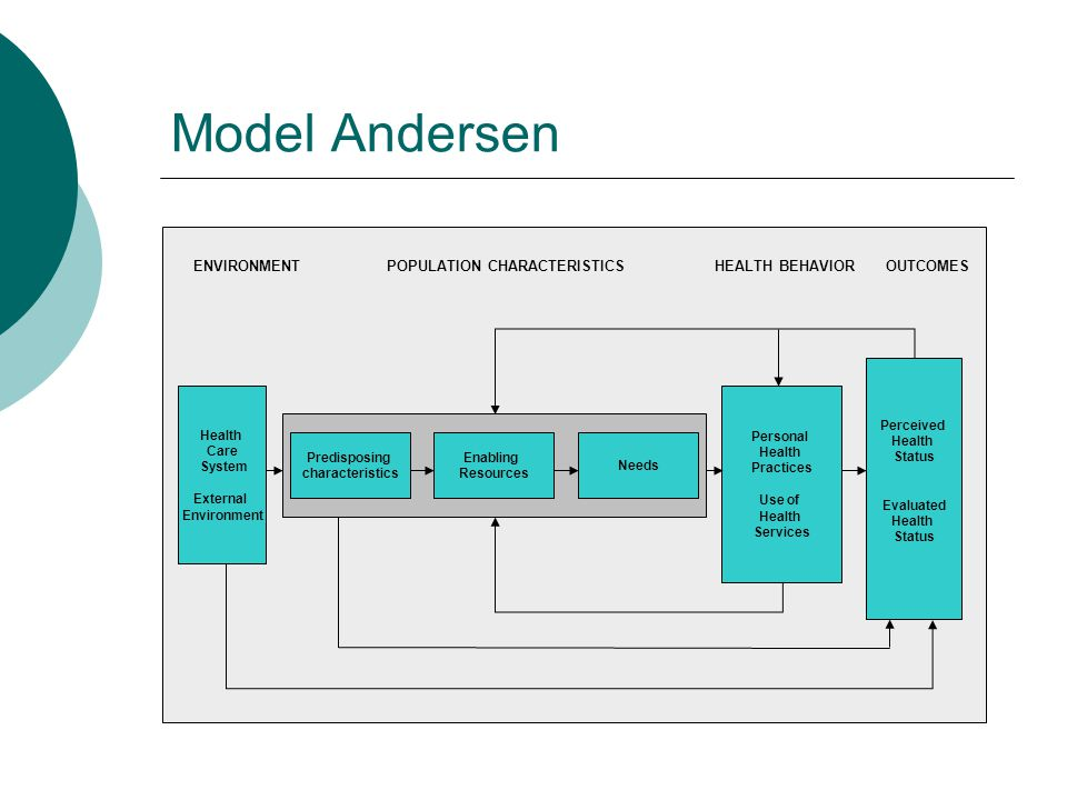 Model Andersen ENVIRONMENT POPULATION CHARACTERISTICS HEALTH BEHAVIOR OUTCOMES. Health. Care.
