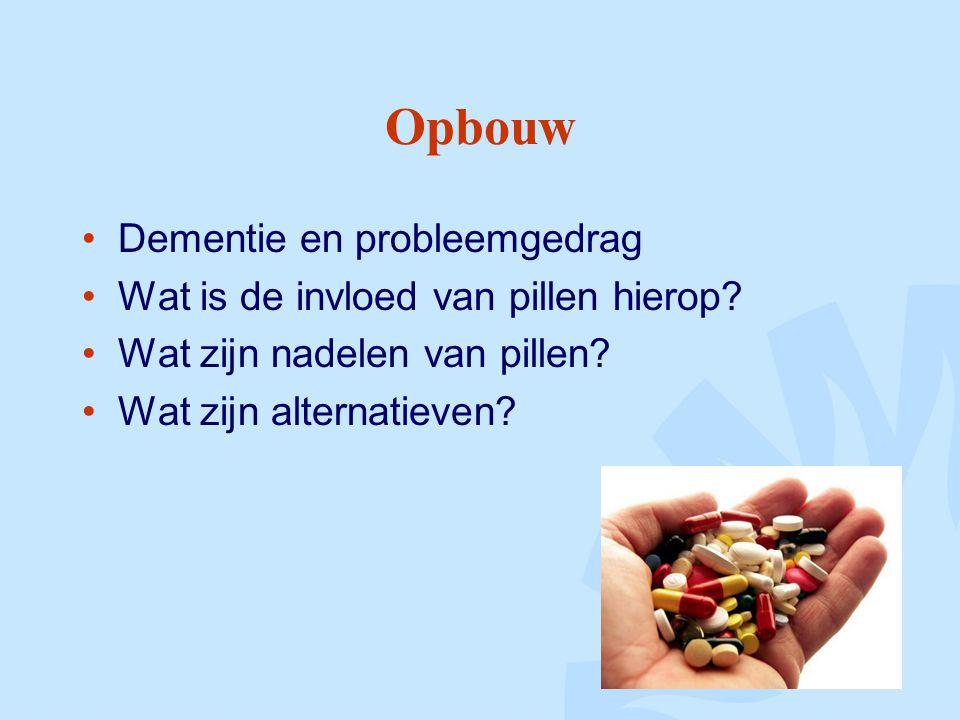 Opbouw Dementie en probleemgedrag Wat is de invloed van pillen hierop