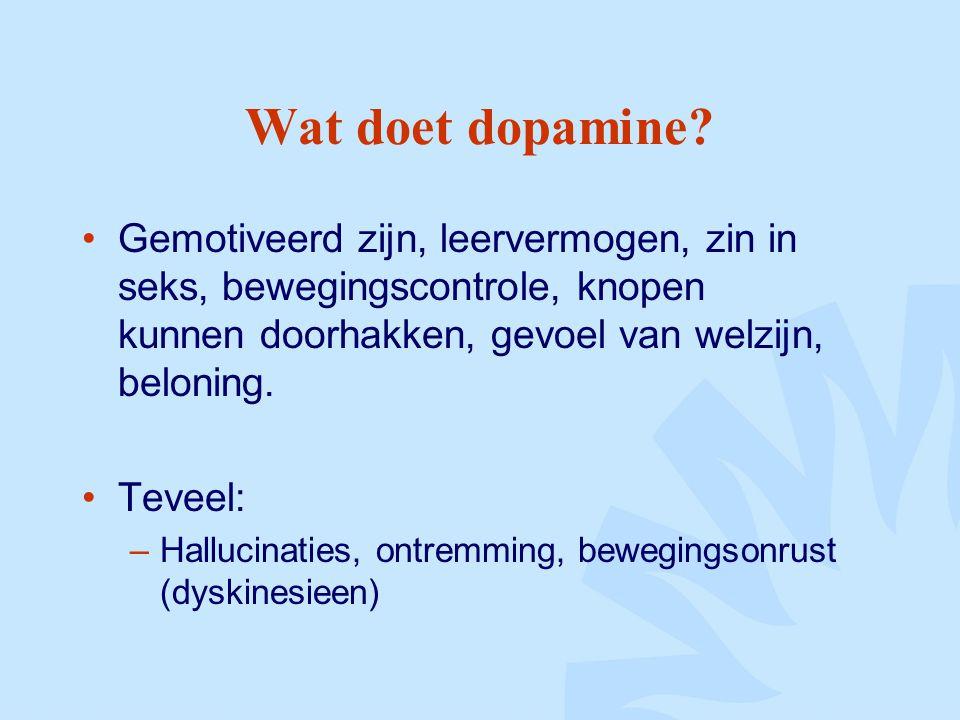 Wat doet dopamine Gemotiveerd zijn, leervermogen, zin in seks, bewegingscontrole, knopen kunnen doorhakken, gevoel van welzijn, beloning.
