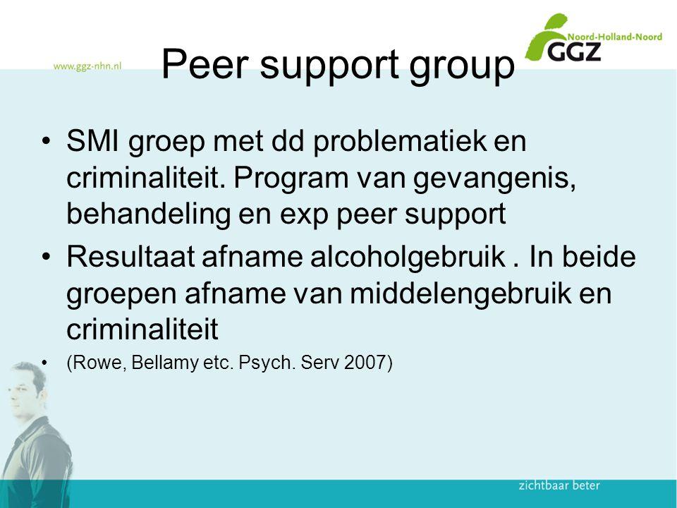 Peer support group SMI groep met dd problematiek en criminaliteit. Program van gevangenis, behandeling en exp peer support.