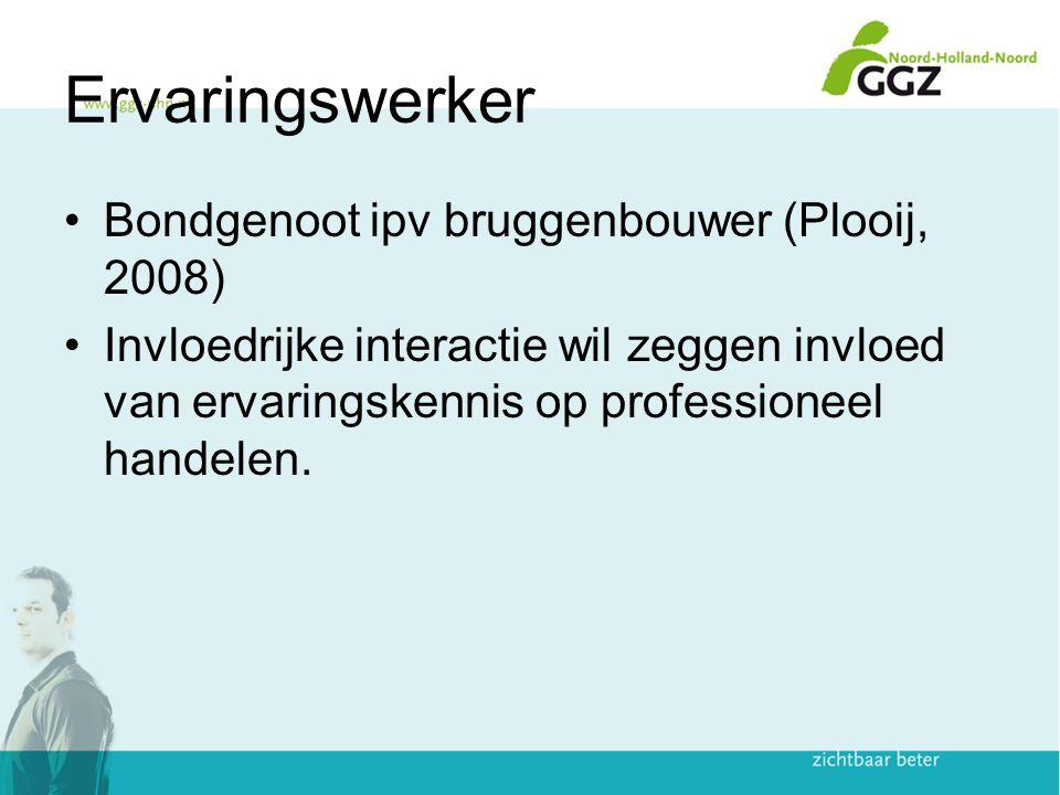 Ervaringswerker Bondgenoot ipv bruggenbouwer (Plooij, 2008)