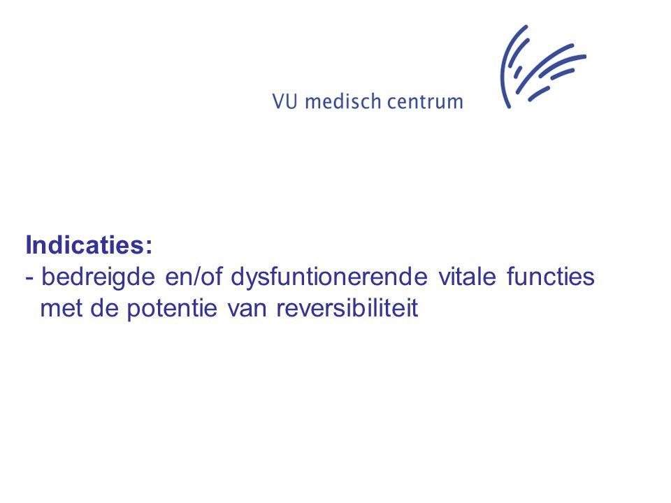 Indicaties: bedreigde en/of dysfuntionerende vitale functies met de potentie van reversibiliteit