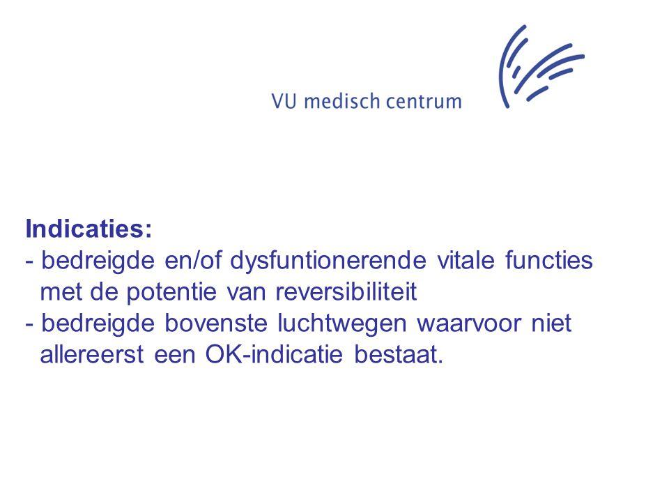 Indicaties: bedreigde en/of dysfuntionerende vitale functies. met de potentie van reversibiliteit.