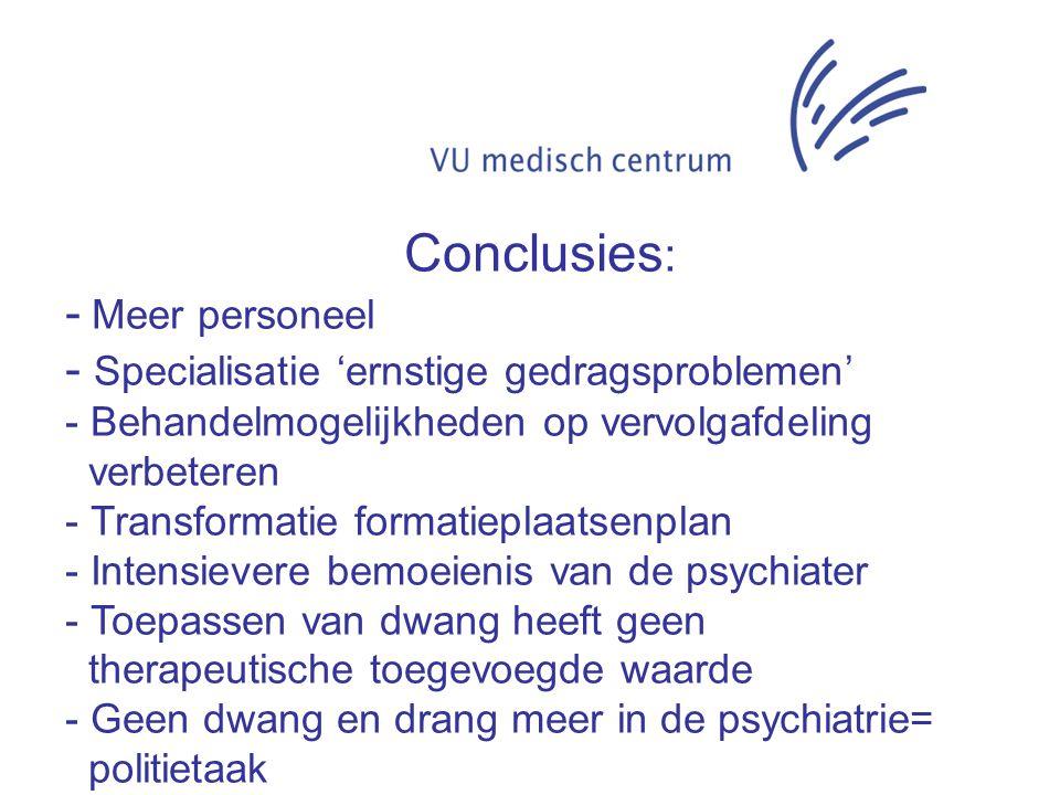 Conclusies: - Meer personeel Specialisatie 'ernstige gedragsproblemen'