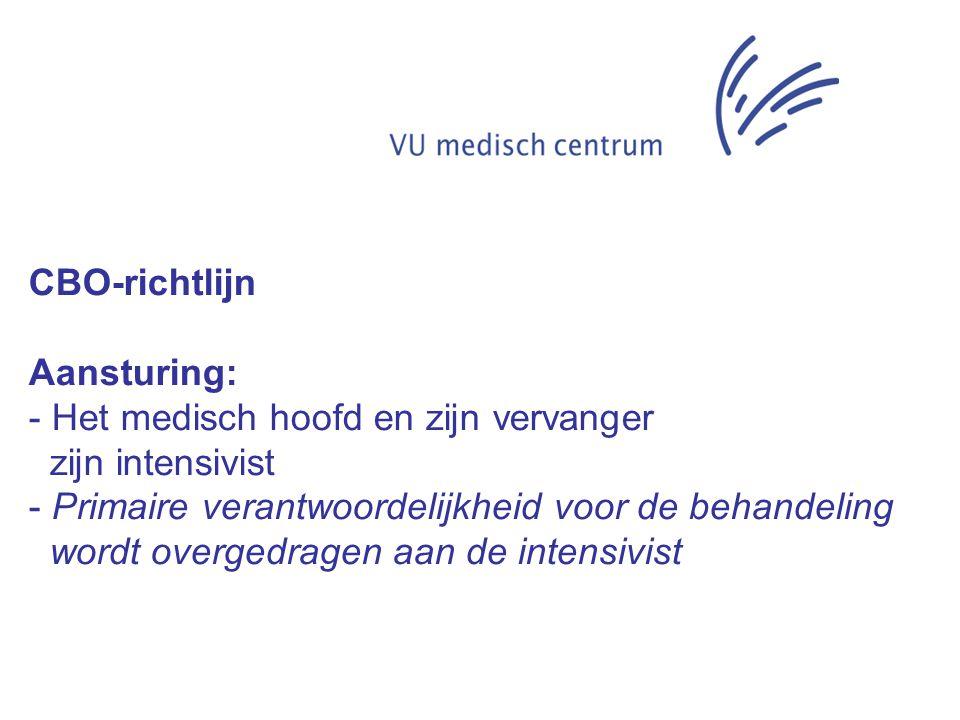 CBO-richtlijn Aansturing: Het medisch hoofd en zijn vervanger. zijn intensivist. Primaire verantwoordelijkheid voor de behandeling.