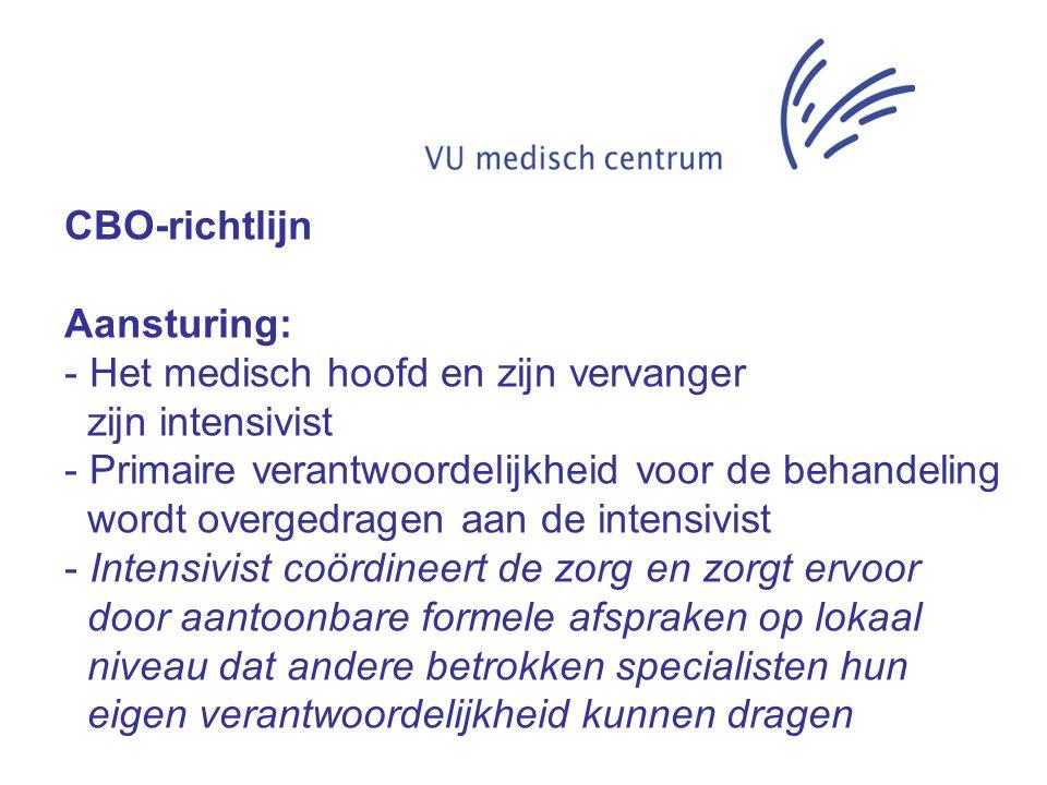 CBO-richtlijn Aansturing: - Het medisch hoofd en zijn vervanger. zijn intensivist. - Primaire verantwoordelijkheid voor de behandeling.