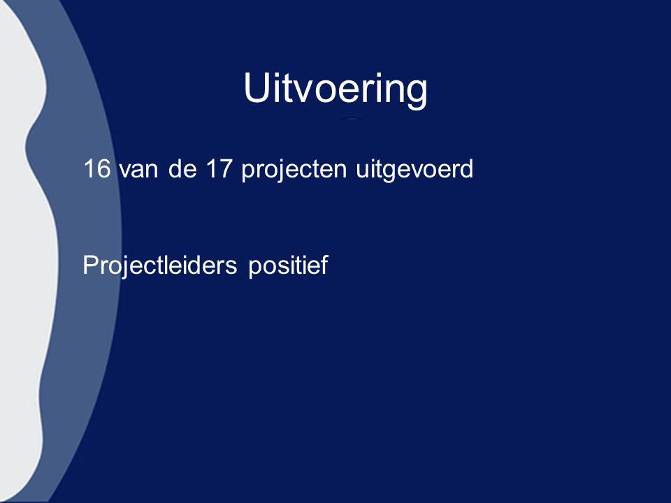 Uitvoering 16 van de 17 projecten uitgevoerd Projectleiders positief