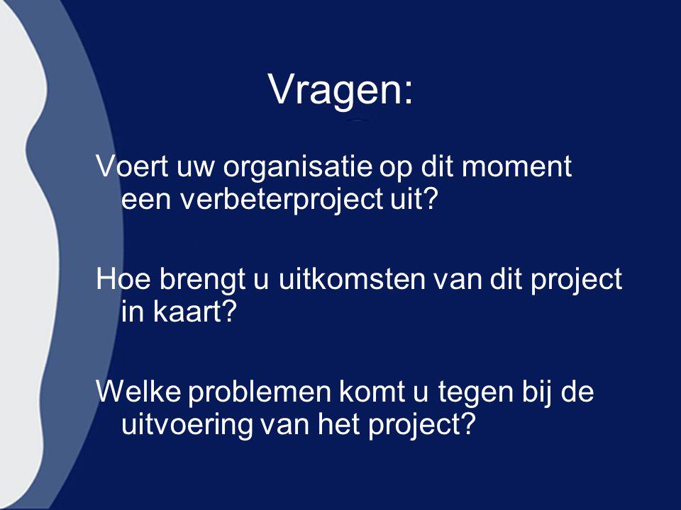 Vragen: Voert uw organisatie op dit moment een verbeterproject uit
