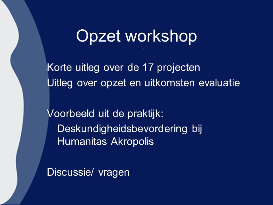 Opzet workshop Korte uitleg over de 17 projecten
