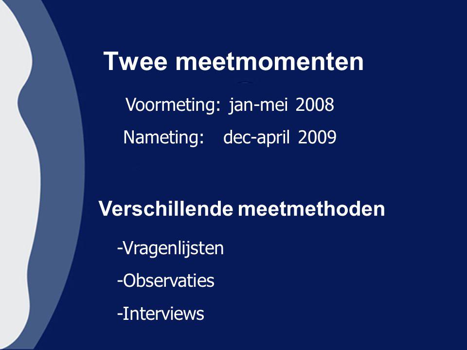 Twee meetmomenten Verschillende meetmethoden Voormeting: jan-mei 2008