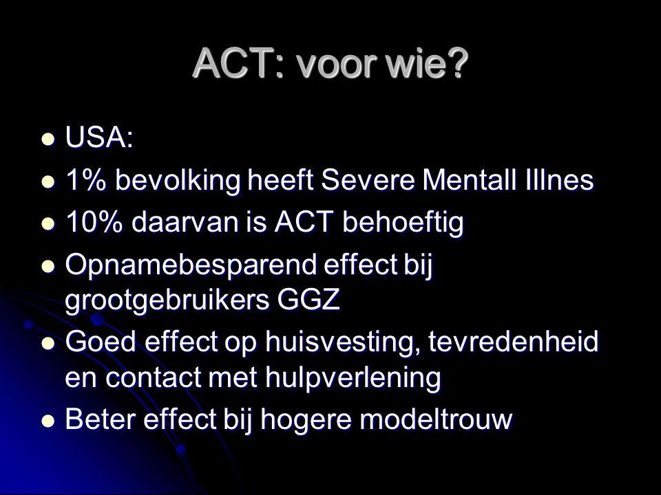 ACT: voor wie USA: 1% bevolking heeft Severe Mentall Illnes