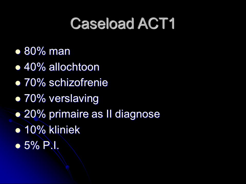 Caseload ACT1 80% man 40% allochtoon 70% schizofrenie 70% verslaving