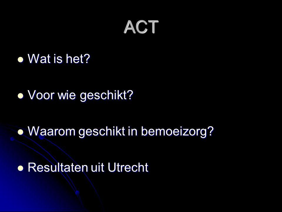 ACT Wat is het Voor wie geschikt Waarom geschikt in bemoeizorg