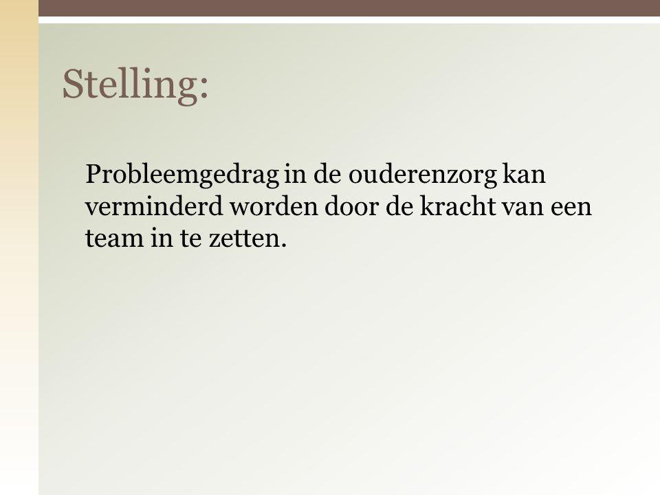 Stelling: Probleemgedrag in de ouderenzorg kan verminderd worden door de kracht van een team in te zetten.