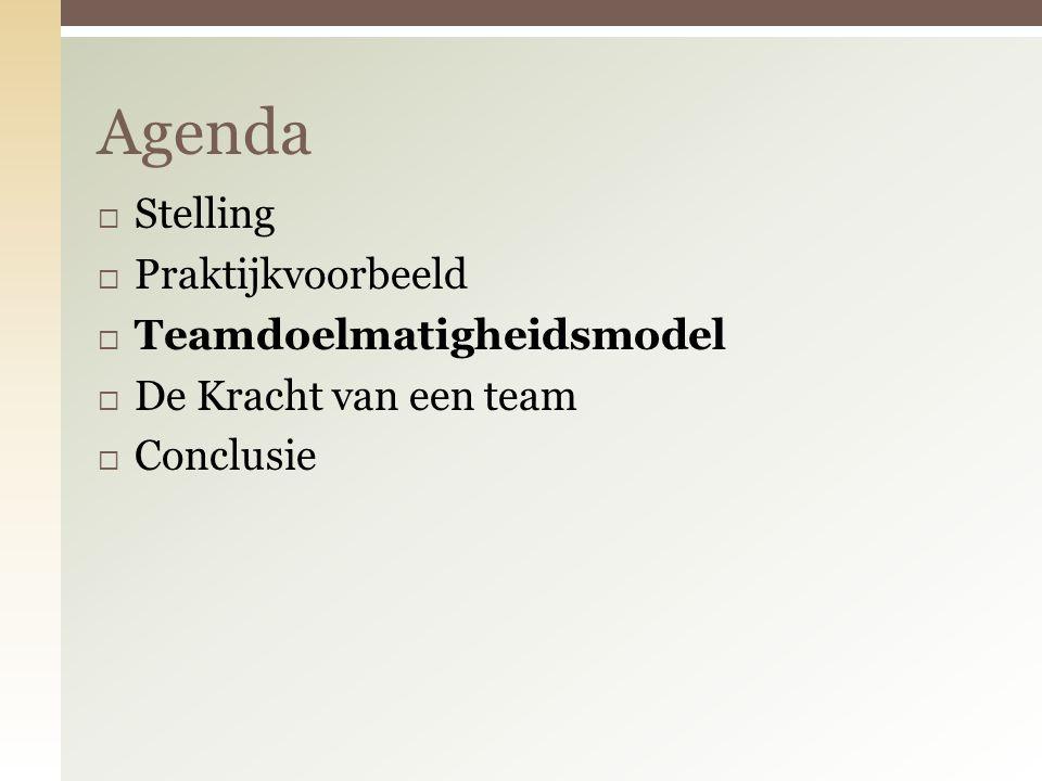 Agenda Stelling Praktijkvoorbeeld Teamdoelmatigheidsmodel