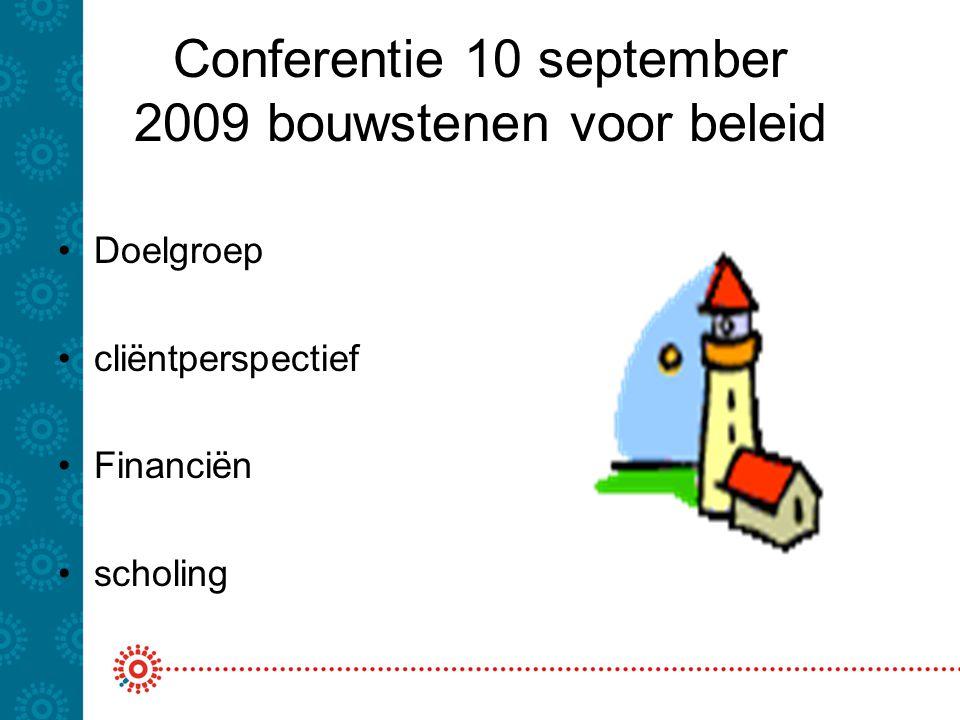 Conferentie 10 september 2009 bouwstenen voor beleid