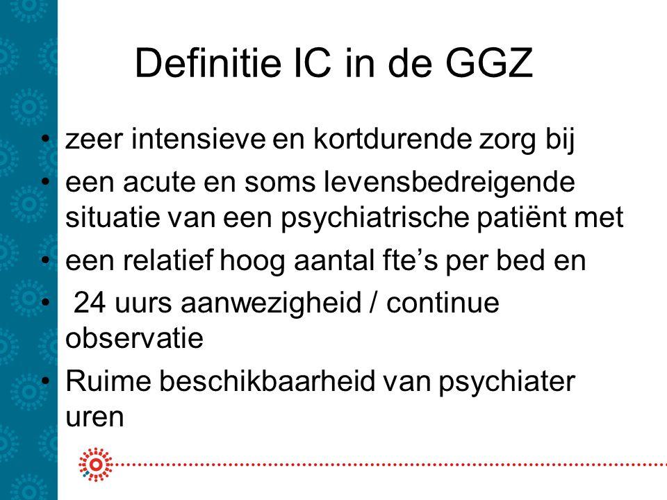 Definitie IC in de GGZ zeer intensieve en kortdurende zorg bij