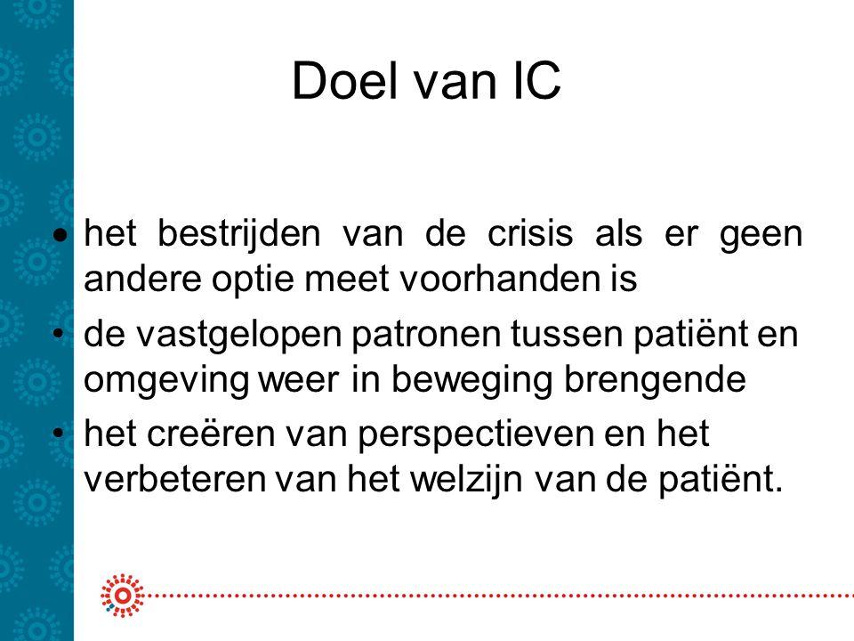 Doel van IC het bestrijden van de crisis als er geen andere optie meet voorhanden is.