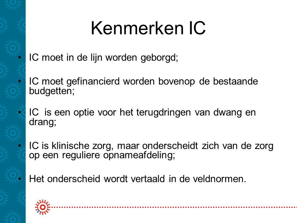 Kenmerken IC IC moet in de lijn worden geborgd;