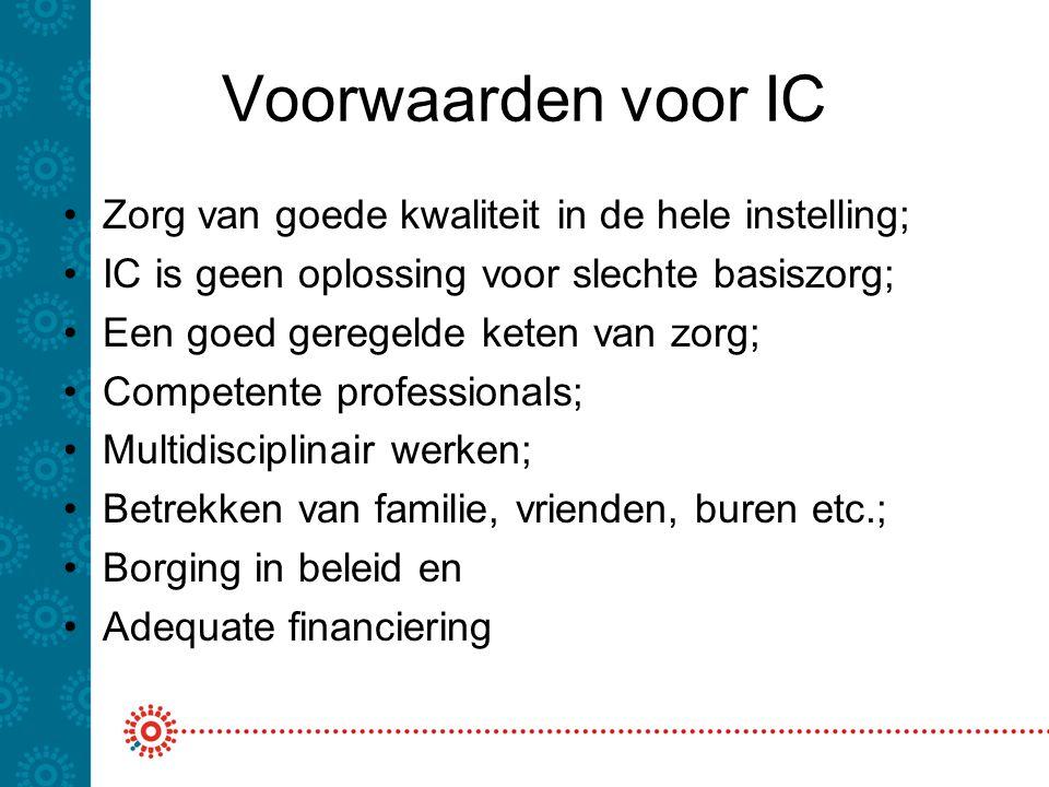 Voorwaarden voor IC Zorg van goede kwaliteit in de hele instelling;
