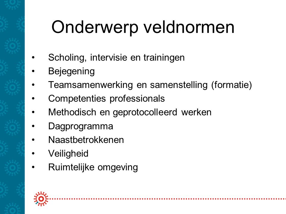 Onderwerp veldnormen Scholing, intervisie en trainingen Bejegening