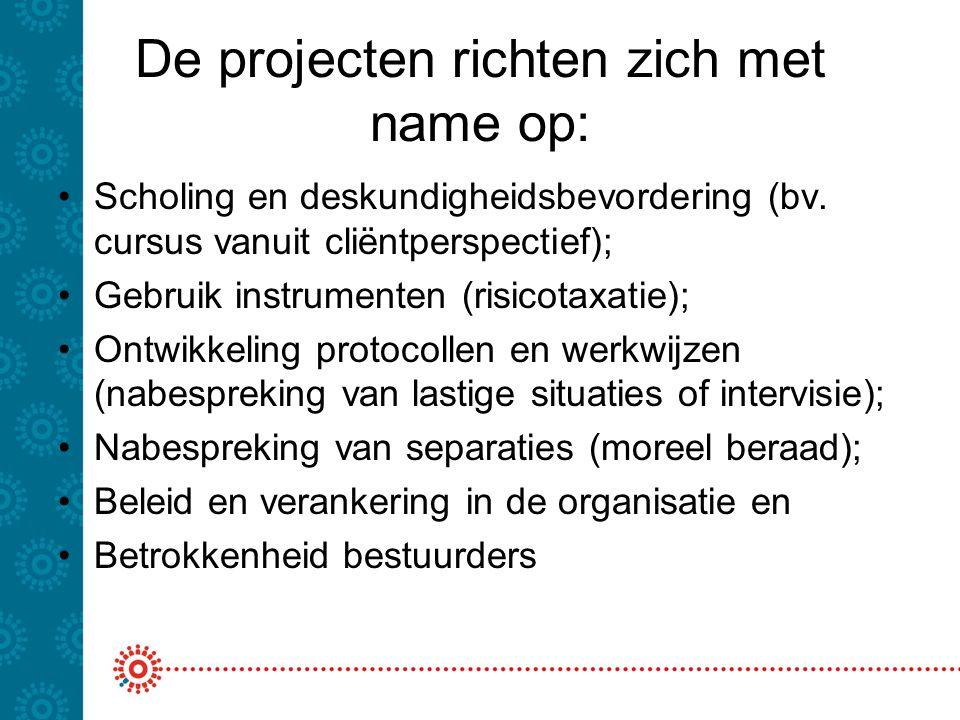 De projecten richten zich met name op: