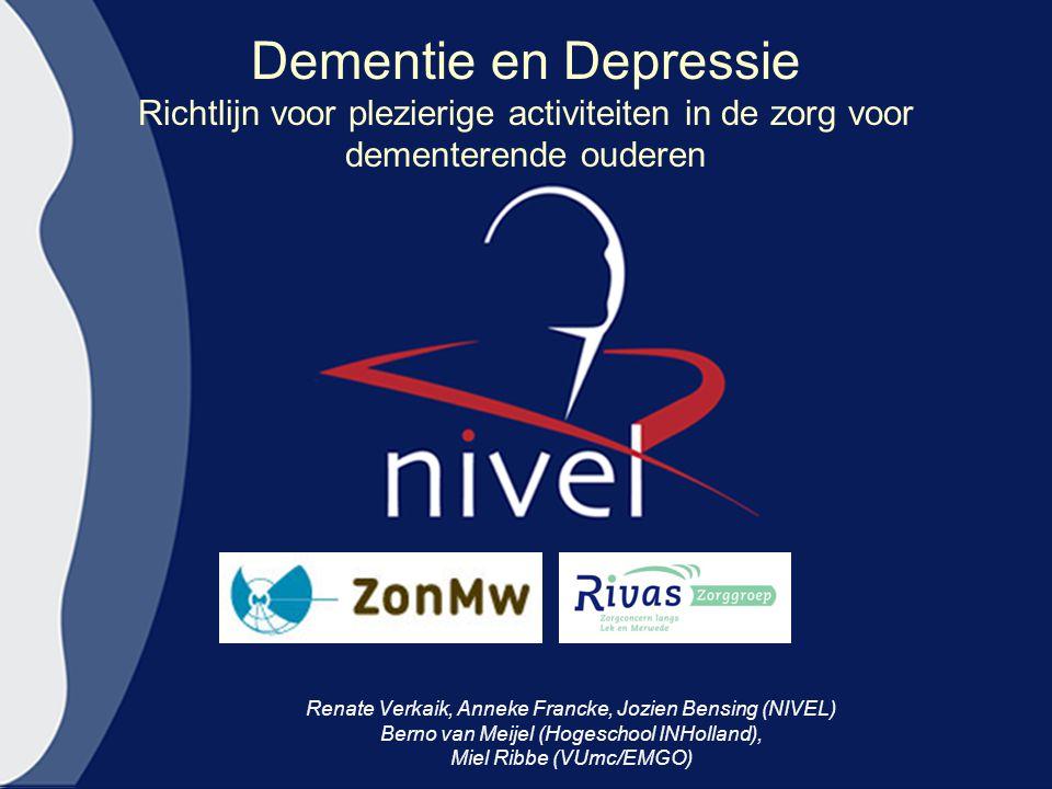 Dementie en Depressie Richtlijn voor plezierige activiteiten in de zorg voor dementerende ouderen