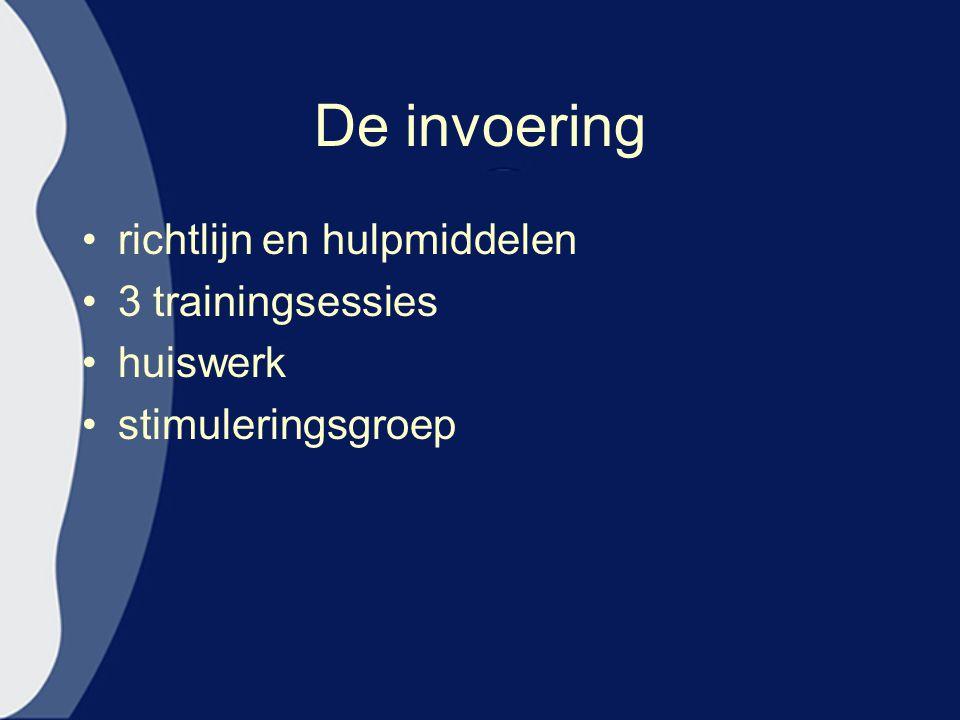 De invoering richtlijn en hulpmiddelen 3 trainingsessies huiswerk