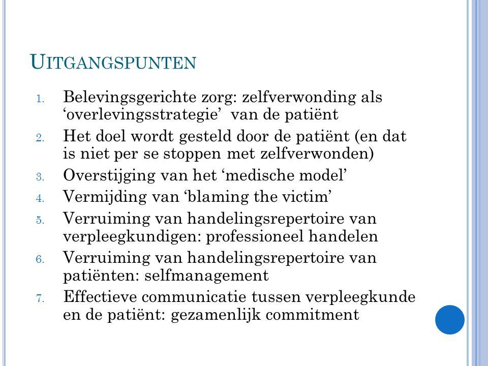 Uitgangspunten Belevingsgerichte zorg: zelfverwonding als 'overlevingsstrategie' van de patiënt.
