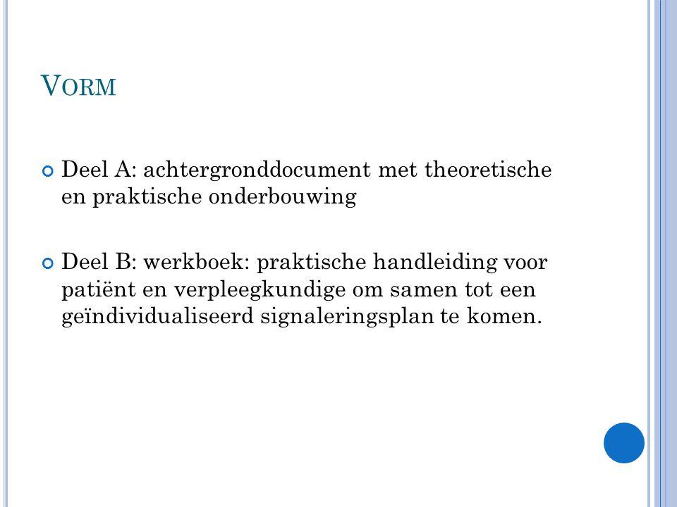 Vorm Deel A: achtergronddocument met theoretische en praktische onderbouwing.