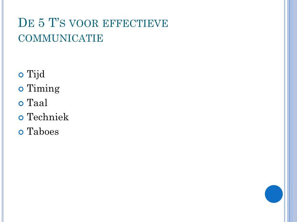 De 5 T's voor effectieve communicatie
