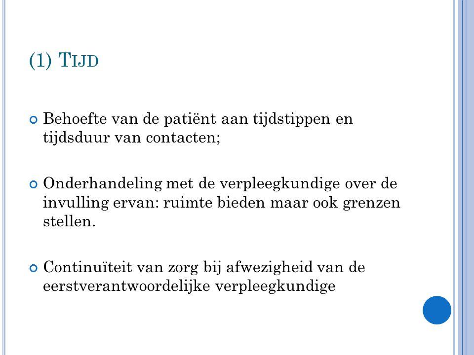(1) Tijd Behoefte van de patiënt aan tijdstippen en tijdsduur van contacten;