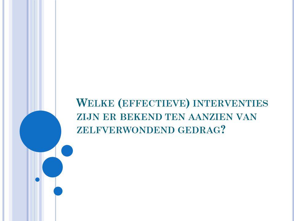 Welke (effectieve) interventies zijn er bekend ten aanzien van zelfverwondend gedrag