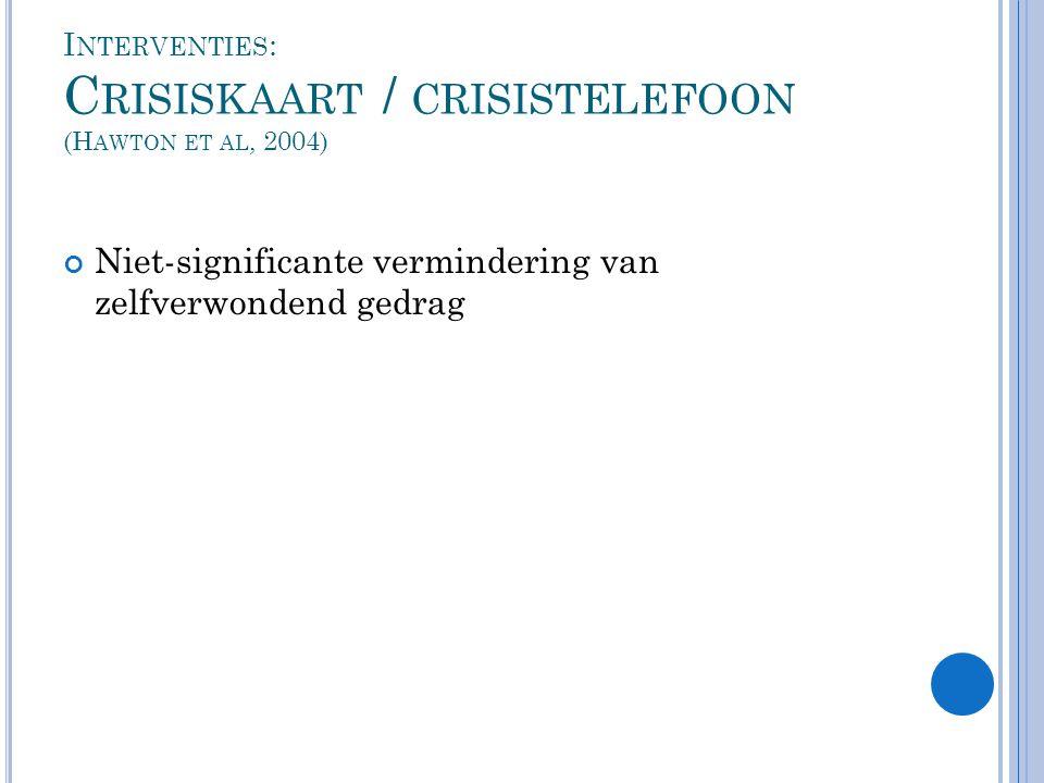 Interventies: Crisiskaart / crisistelefoon (Hawton et al, 2004)