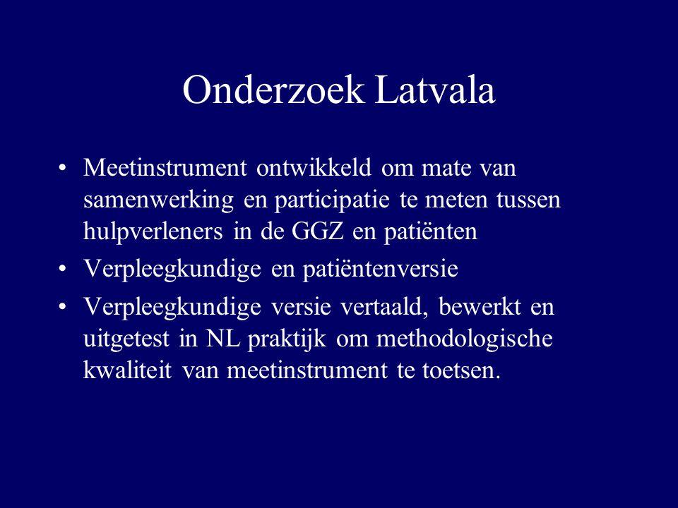 Onderzoek Latvala Meetinstrument ontwikkeld om mate van samenwerking en participatie te meten tussen hulpverleners in de GGZ en patiënten.
