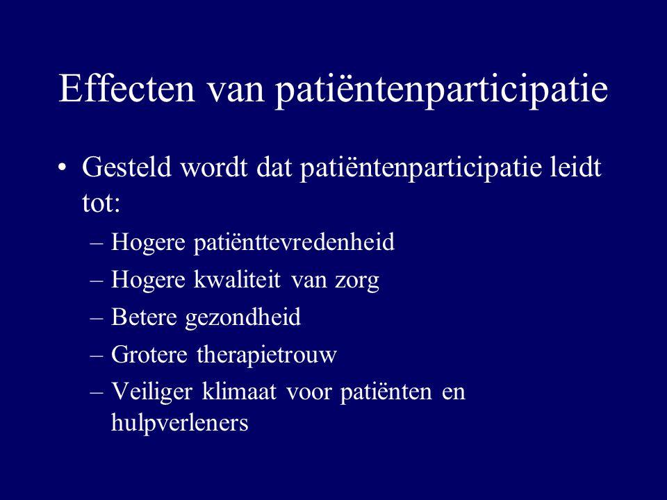 Effecten van patiëntenparticipatie