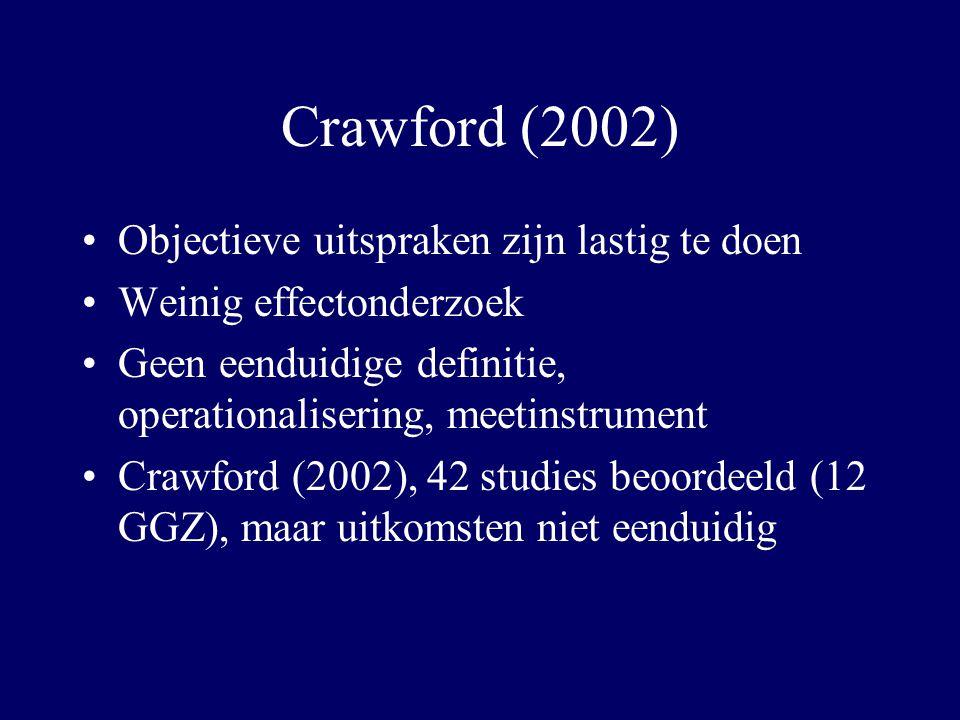Crawford (2002) Objectieve uitspraken zijn lastig te doen