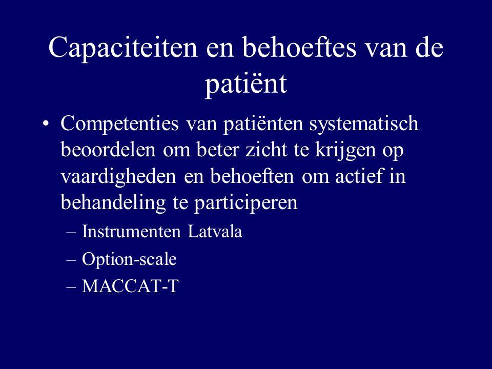 Capaciteiten en behoeftes van de patiënt