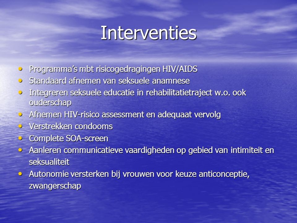 Interventies Programma's mbt risicogedragingen HIV/AIDS