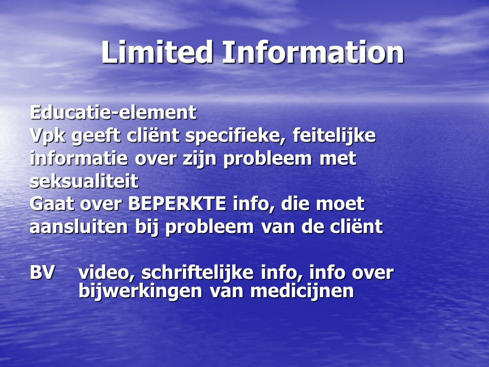 Limited Information Educatie-element