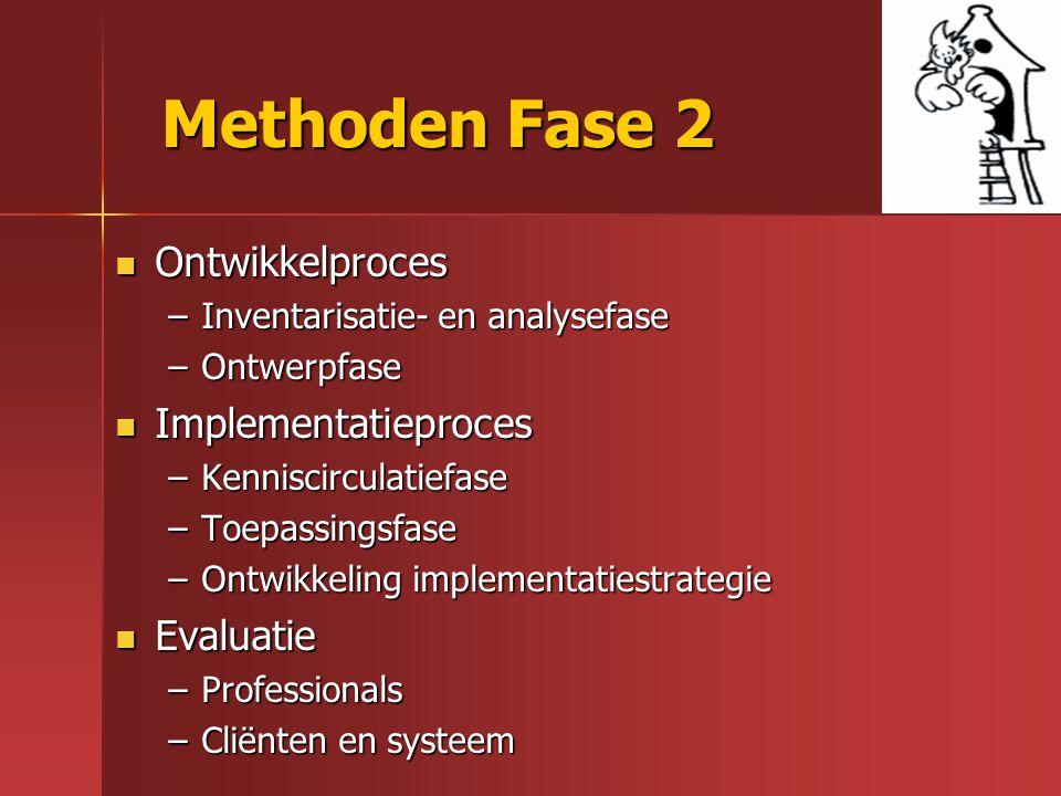Methoden Fase 2 Ontwikkelproces Implementatieproces Evaluatie