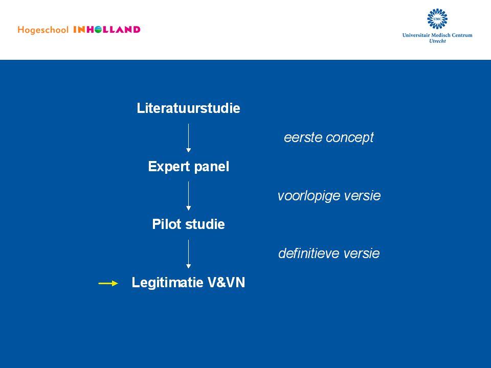 Op basis van de resultaten van de pilot studie hebben we de richtlijn aangepast, en ook deze aanpassingen zijn weer voorgelegd aan het expert panel. Nadat zij hun commentaar hebben kunnen geven is de definitieve versie van de richtlijn vastgesteld en voorgelegd aan de V&VN.