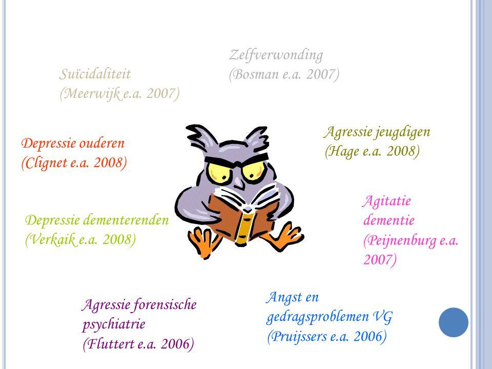 Zelfverwonding (Bosman e.a. 2007) Suïcidaliteit. (Meerwijk e.a. 2007) Agressie jeugdigen. (Hage e.a. 2008)