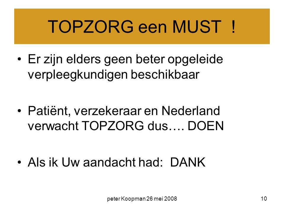 TOPZORG een MUST ! Er zijn elders geen beter opgeleide verpleegkundigen beschikbaar. Patiënt, verzekeraar en Nederland verwacht TOPZORG dus…. DOEN.