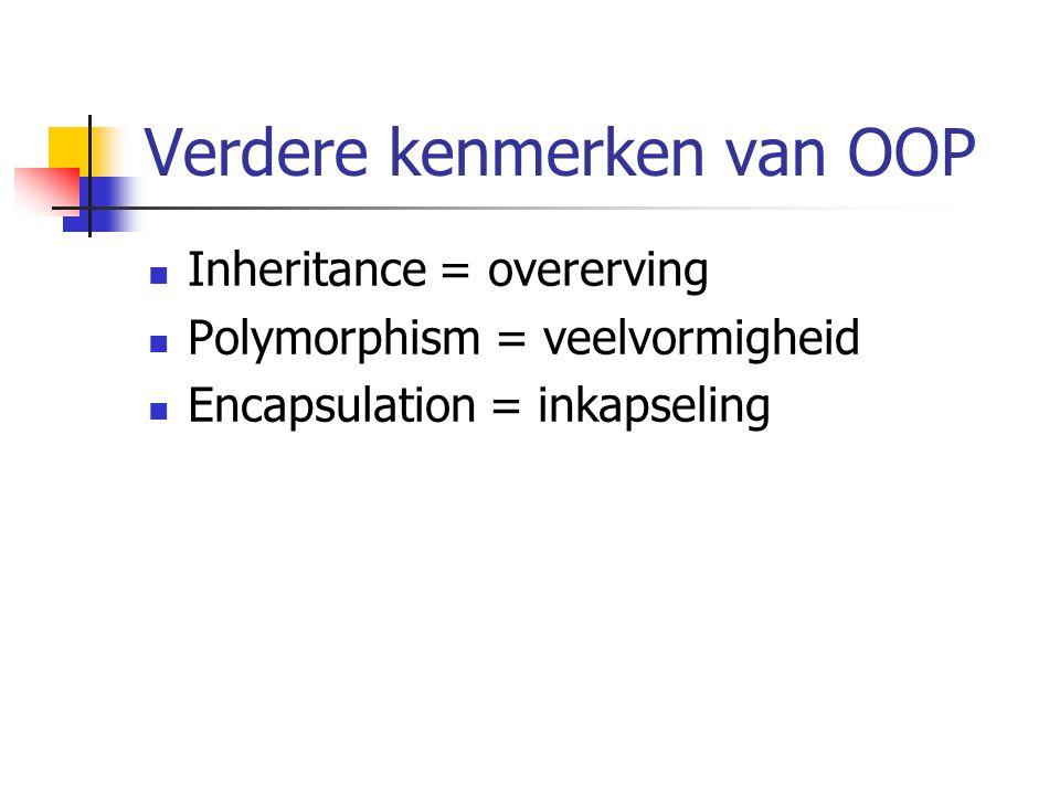 Verdere kenmerken van OOP