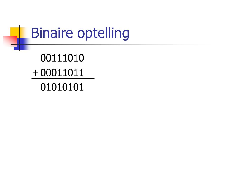 Binaire optelling 00111010 + 00011011 01010101